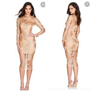 Nookie NWT Vanity Long Sleeve Gold Dress L